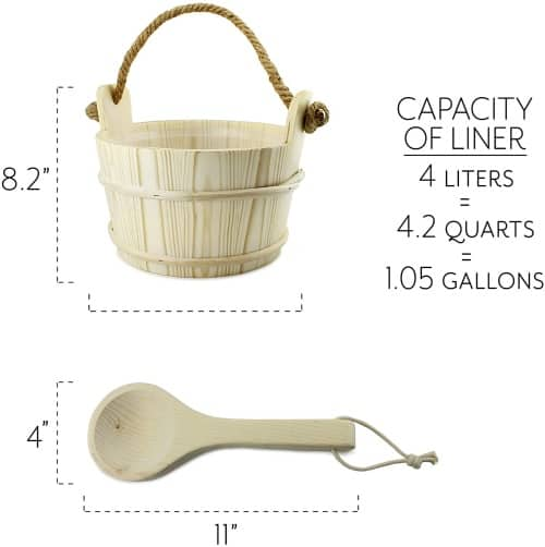 Cornucopia Wooden Sauna Bucket with Ladle 3